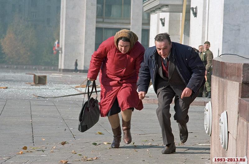 Во время штурма Белого дома в Москве, 1993 год